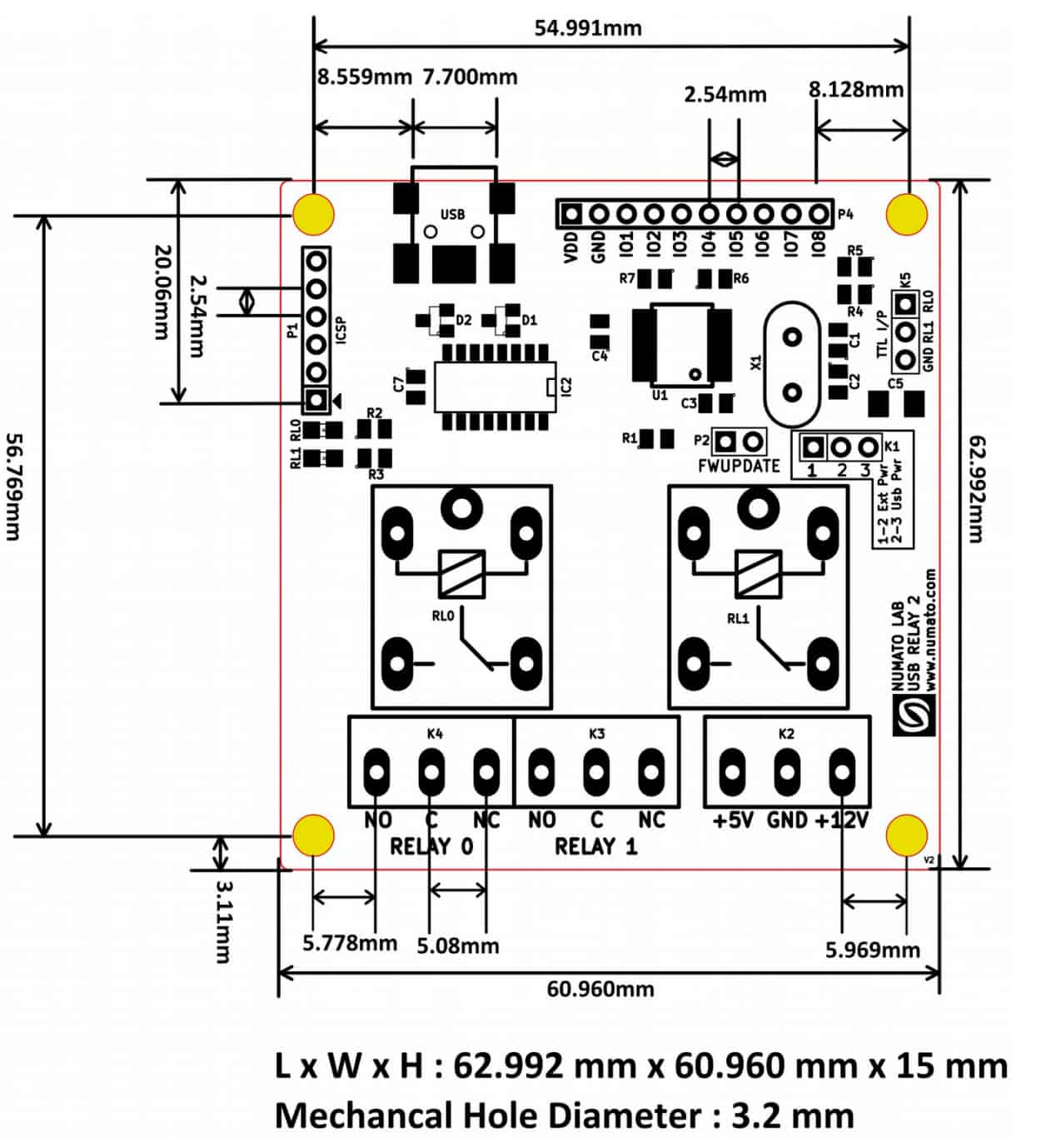2 Channel Usb Relay Module Numato Lab Help Center Free Download Inf 1 Wiring Diagrams 8mechanical Dimensions