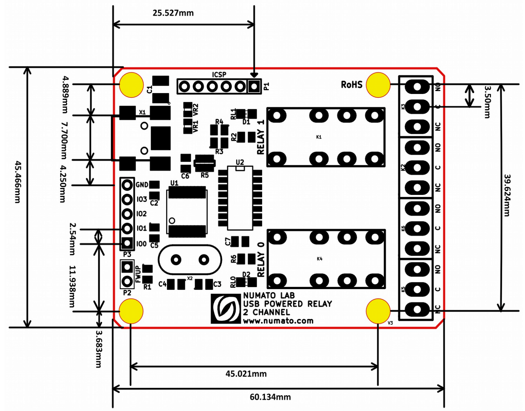 2 Channel Usb Powered Relay Module Numato Lab Help Center Usbpowered Pic Programmer Circuit Diagram 8mechanical Dimensions
