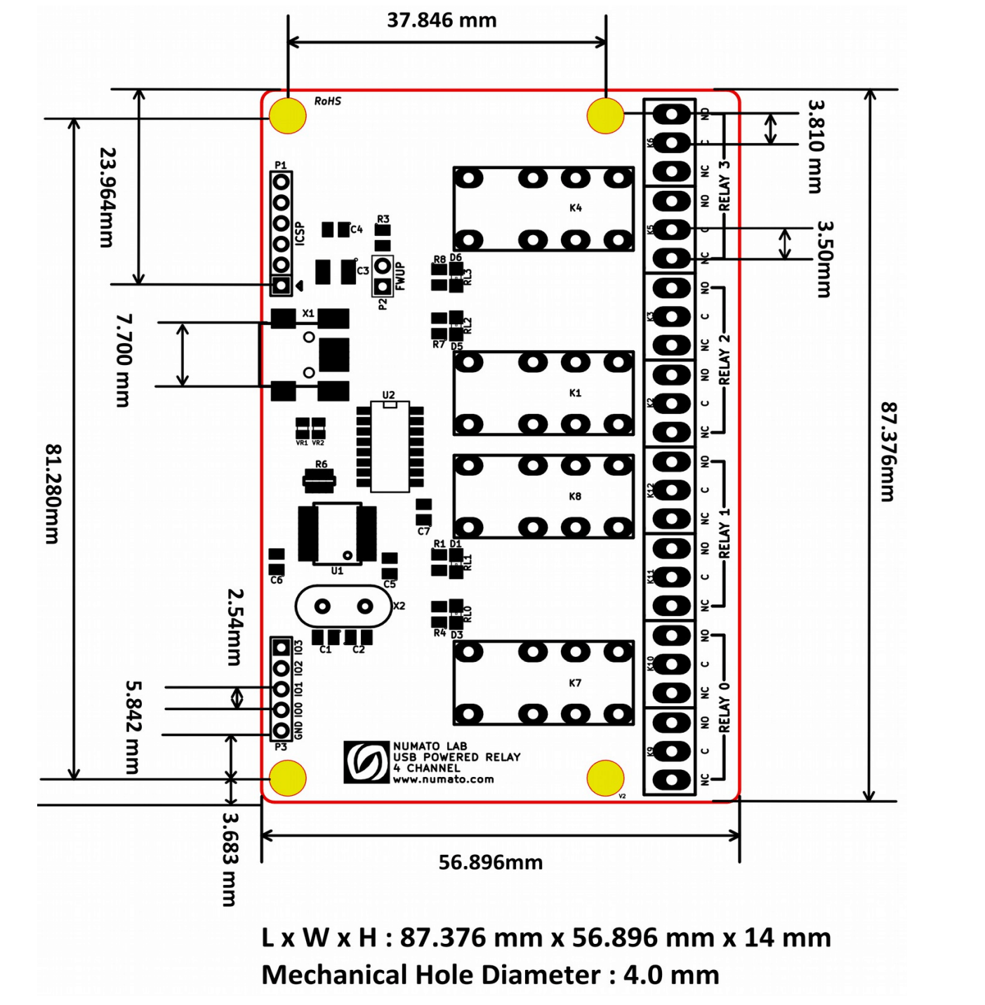 4 Channel Usb Powered Relay Module Numato Lab Help Center Diagram In Addition Switch 5 Pin Wiring Besides Voltage 8mechanical Dimensions