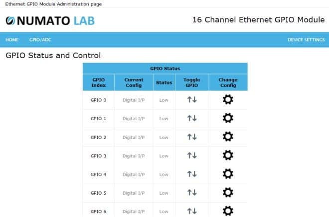 16 Channel Ethernet GPIO Module GPIO Status and Control