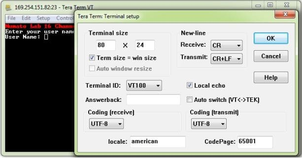 16 Channel Ethernet GPIO Module Tera Term Terminal Setup