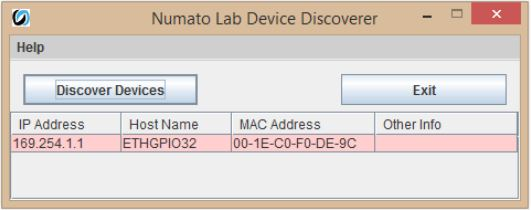 32 Channel Ethernet GPIO Numato Lab Device Discoverer