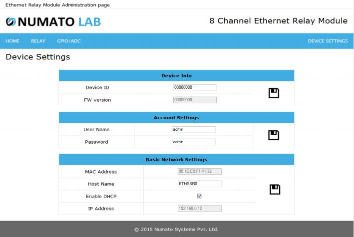 8 Channel Ethernet SS Device Settings