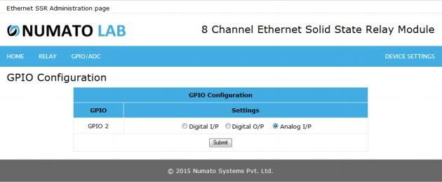 8 Channel Ethernet SS GPIO Analog Input Configuration