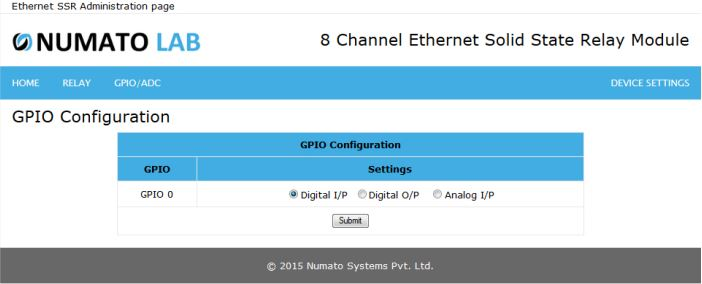 8 Channel Ethernet SS GPIO Input Configuration