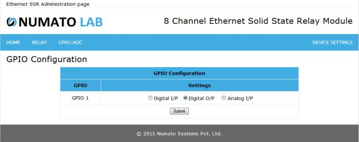 8 Channel Ethernet SS GPIO Output Configuration