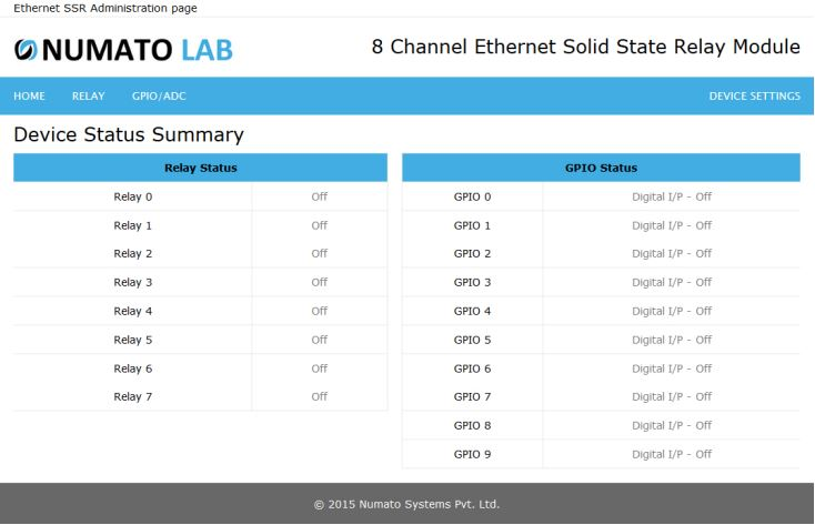 8 Channel Ethernet SS Relay Module device status summary