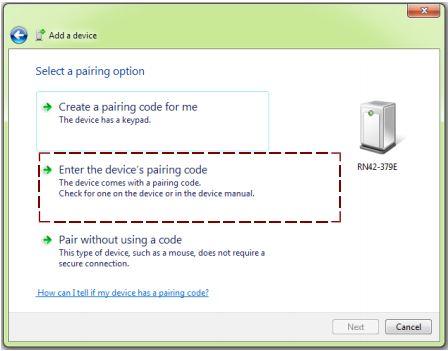 device's pairing code