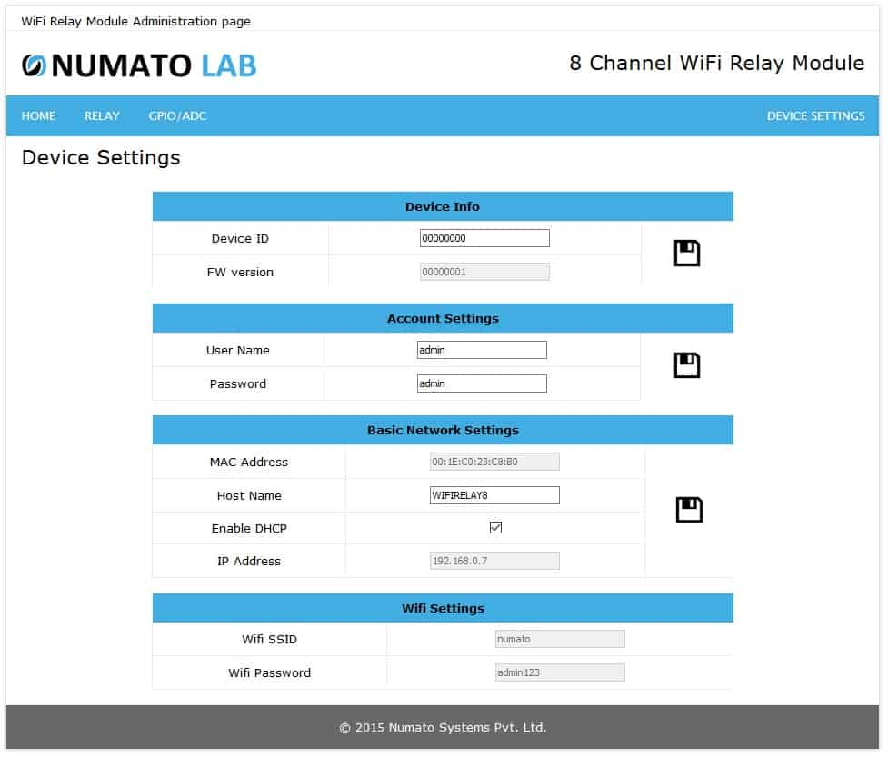 8 Channel Wifi Relay Module Numato Lab Help Center Switches Low This Disables The And Enables Analog Switch Device Settings Page Displays Current Firmware Version Id Account Basic Network Setings