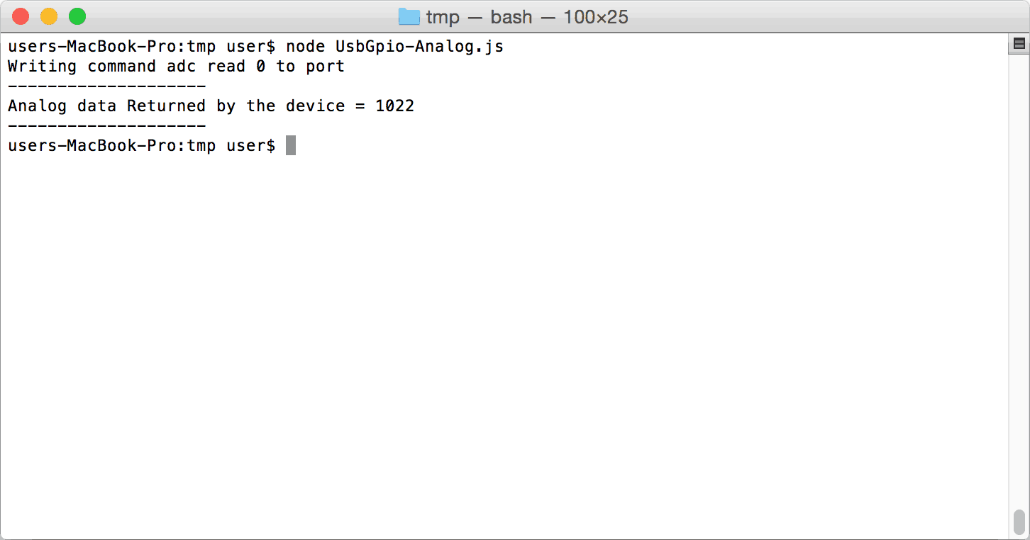 Node.JS Analog On Mac OSX