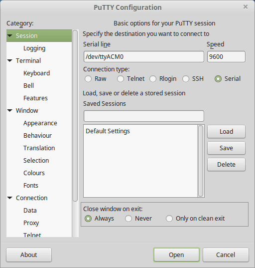 Putty With Numato Lab GPIO On LInux Settings
