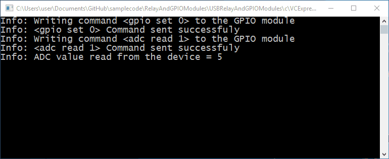 Visual C++ GPIO Sample Program