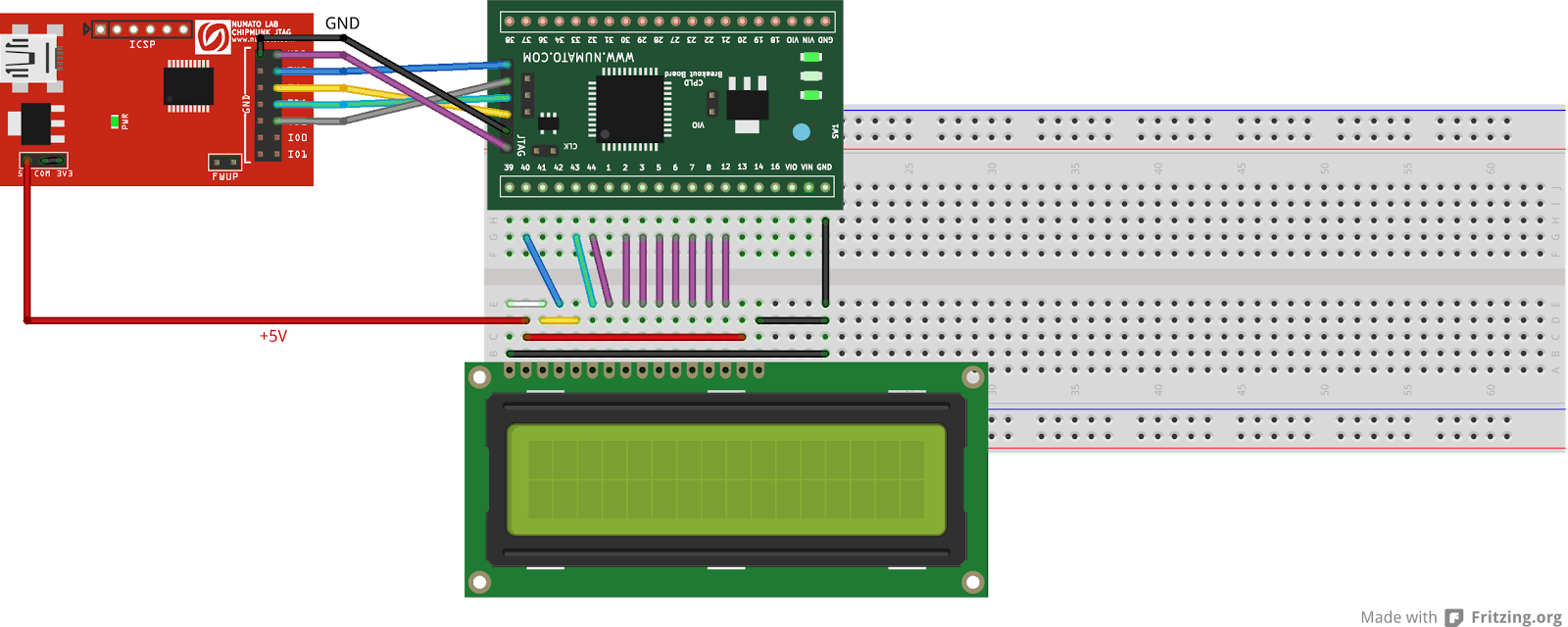 16×2 Character LCD interfacing with Xilinx CPLD Breakout Board and Chipmunk JTAG