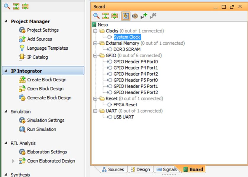 Vivado Design Suite – Using IP integrator with Neso Artix 7 FPGA