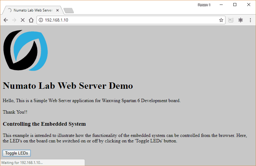 Ethernet HTTP Web Server Example Design on Waxwing Spartan 6 FPGA