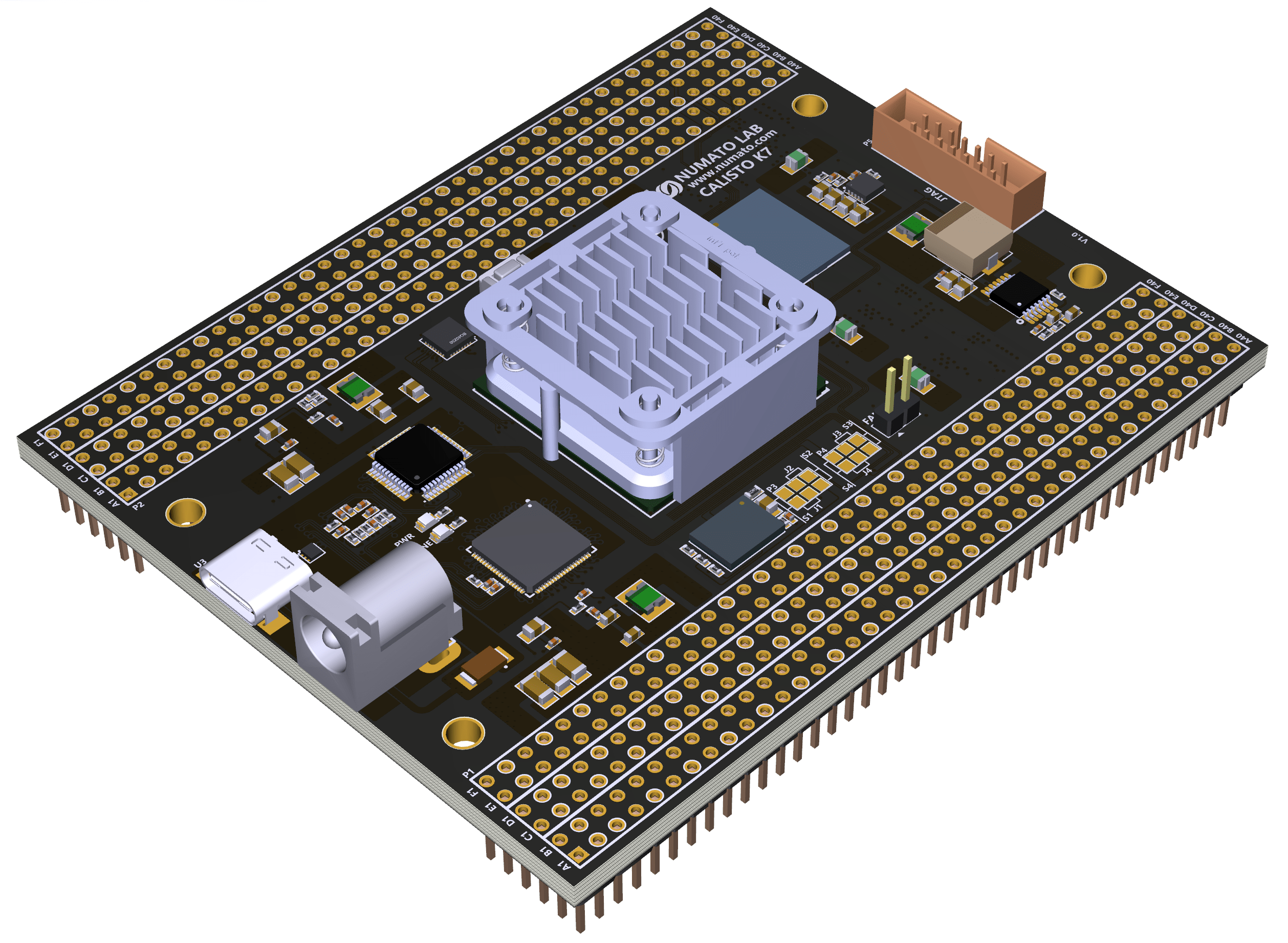 Figure 1 - A Rendering of Callisto K7 USB3.0 Kintex 7 FPGA Module from Numato Lab [Courtesy Numato Systems Pvt. Ltd.]