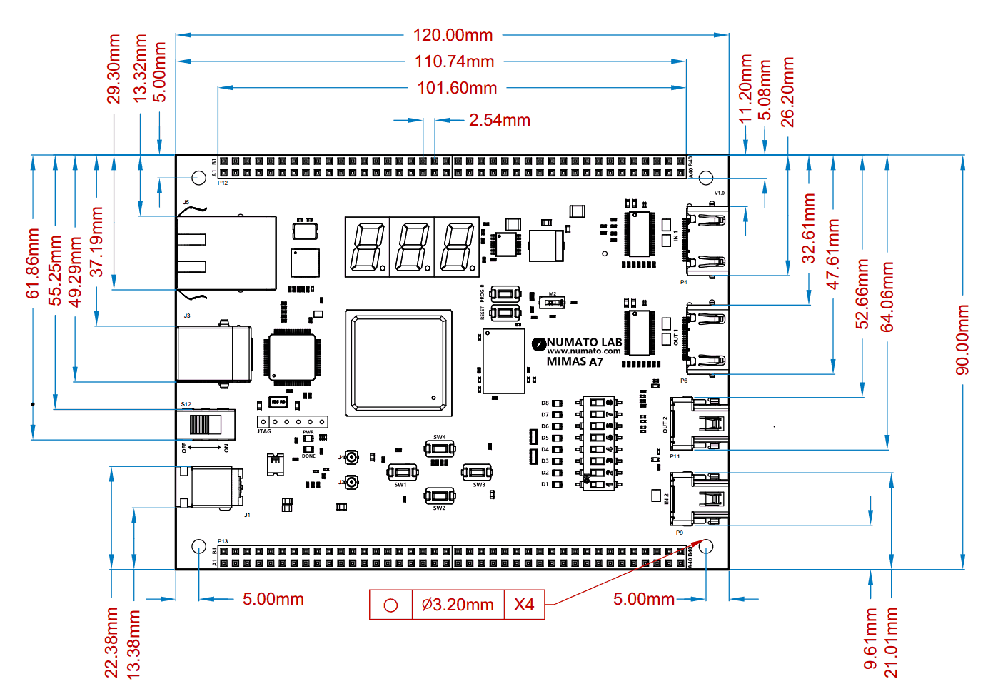 Mimas Artix 7 Fpga Development Board With Ddr Sdram And Gigabit Displayport Schematic 8physical Dimensions