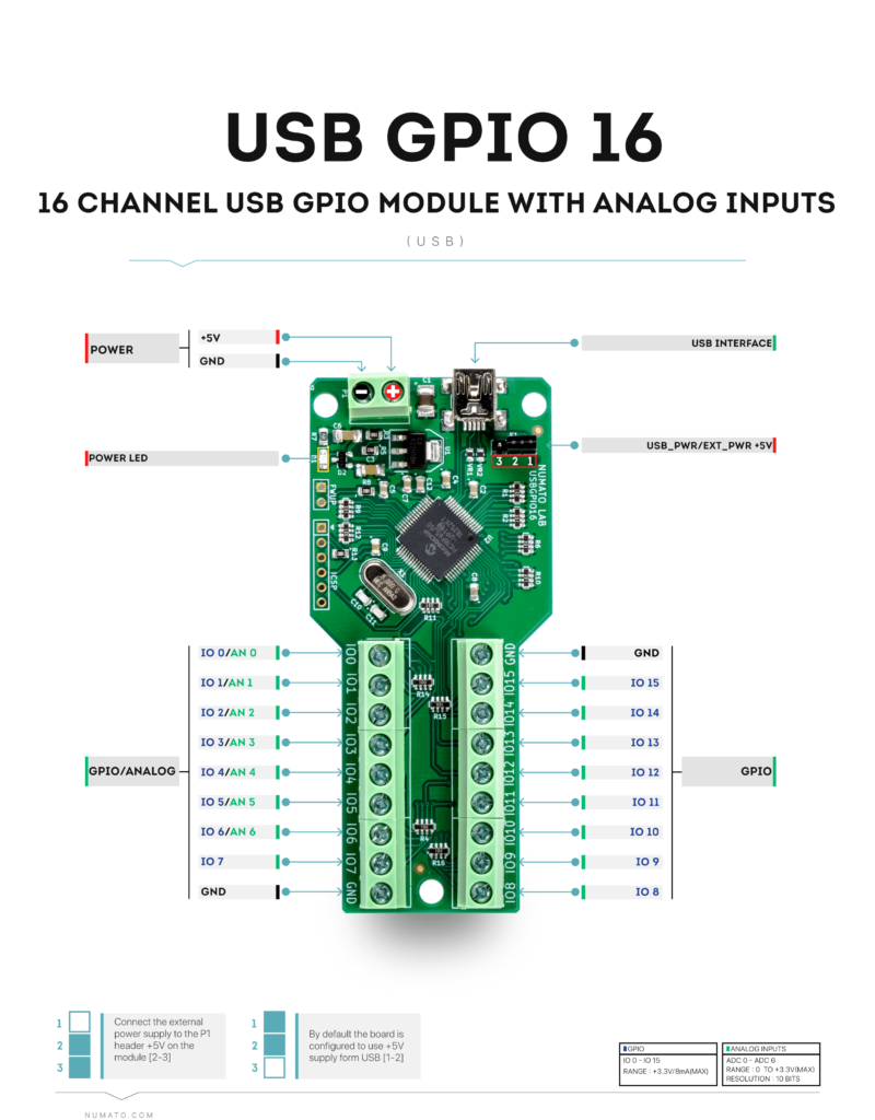 16 Channel USB GPIO Module - Wire Diagram
