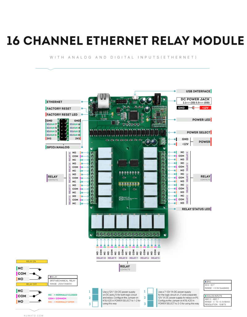 16 Channel Ethernet Relay Module - Wire Diagram