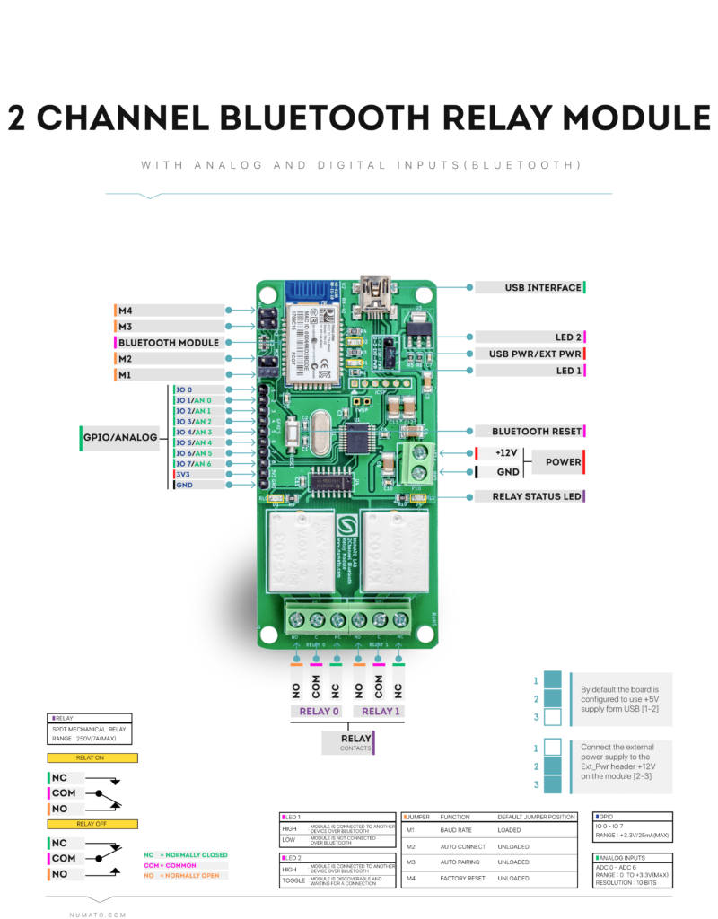 2 Channel Bluetooth Relay Module - Wire Diagram
