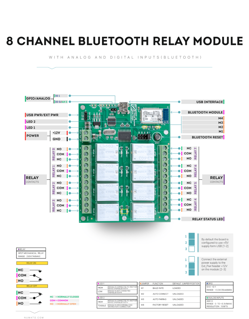 8 Channel Bluetooth Relay Module - Wire Diagram