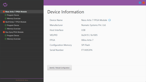 Tenagra FPGA System Management Software DeviceInfo