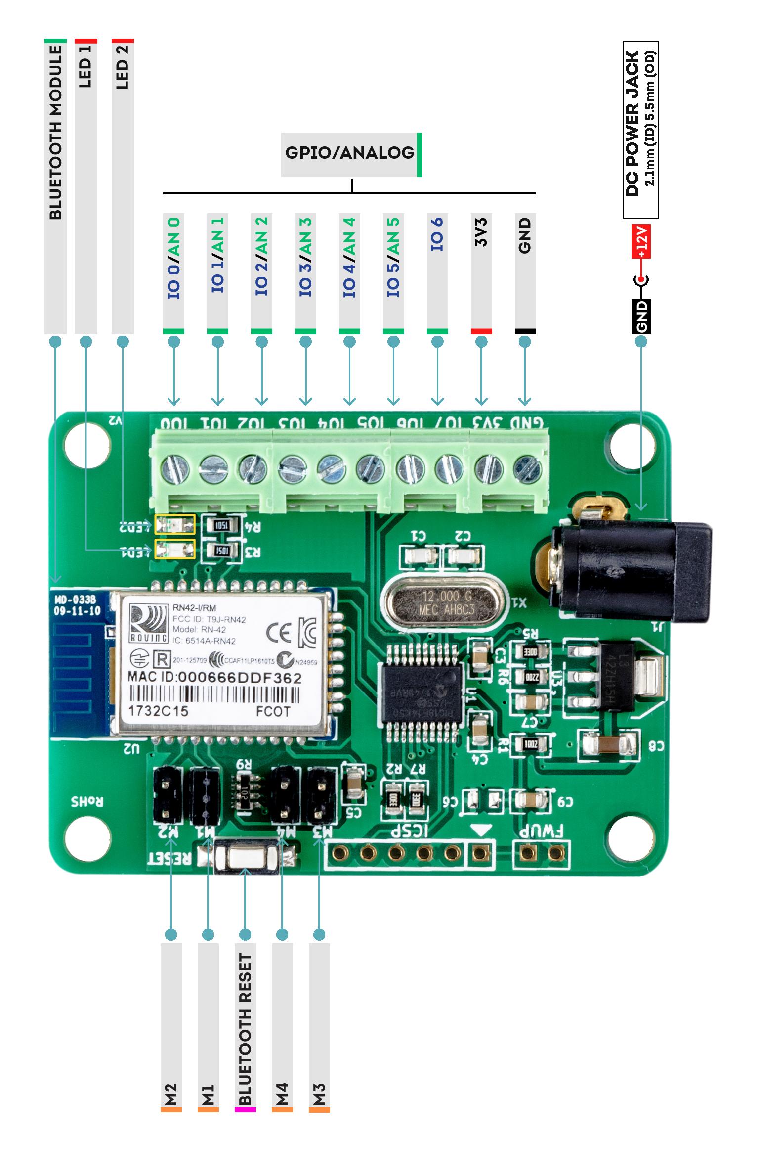 8 Channel Bluetooth GPIO Module Wire-Diagram