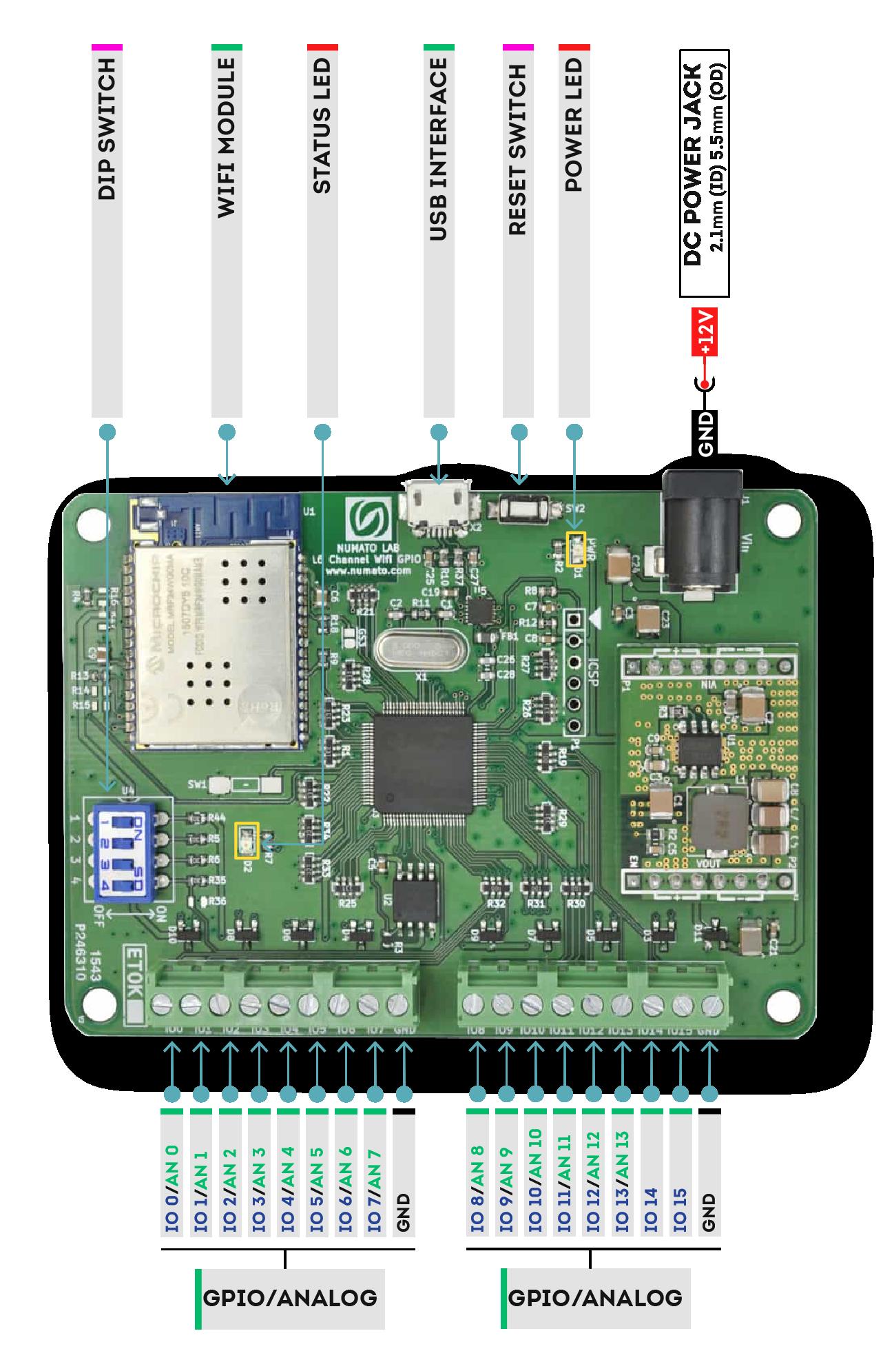 16 Channel WIFI GPIO Module - Wire Diagram